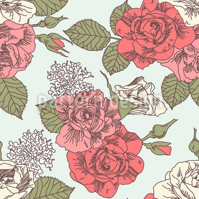 レトロなスタイルのバラ シームレスなベクトルパターン設計