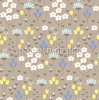 Aufgeklappte Blumenwiese Rapportiertes Design