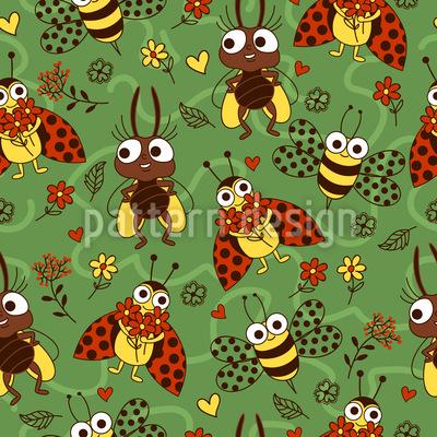 Lustige Insekten Muster Design