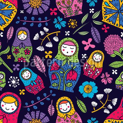 Babushkas florales rusas Estampado Vectorial Sin Costura