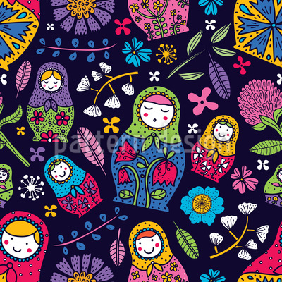 Russian Floral Babushkas Seamless Vector Pattern Design