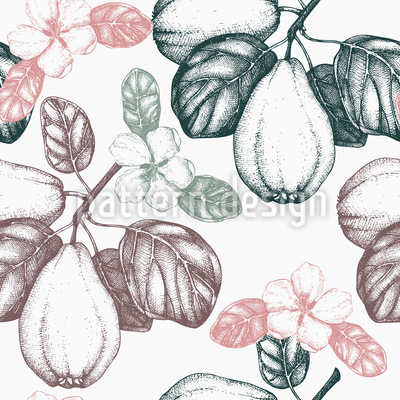 Vintage Quince Tree Seamless Vector Pattern