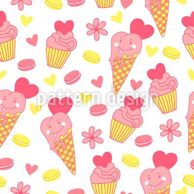 アイスクリームフェイス シームレスなベクトルパターン設計