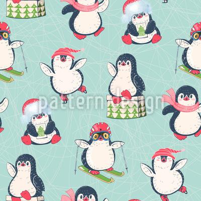 Winter-Pinguin Nahtloses Muster