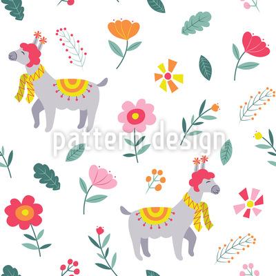 Frühlings Lama Muster Design