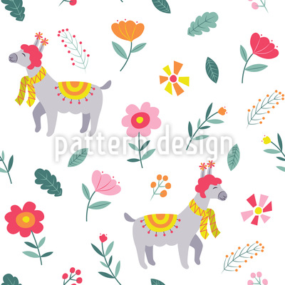 Spring Lama Seamless Vector Pattern Design