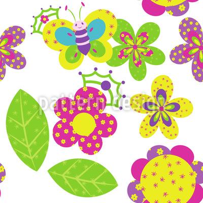 Gekrönte Blumen Rapportiertes Design