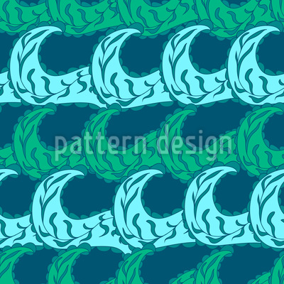 Twigs And Waves Seamless Pattern