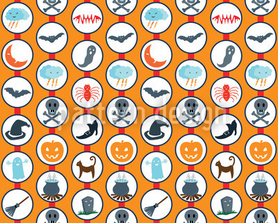 Scary Parade Orange Seamless Vector Pattern Design