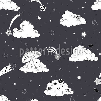 Playful Clouds Seamless Pattern