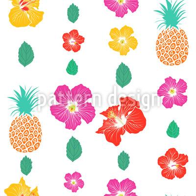 Ananas Und Hibiskus Musterdesign