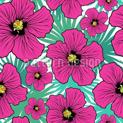 Flor de hibisco Design de padrão vetorial sem costura