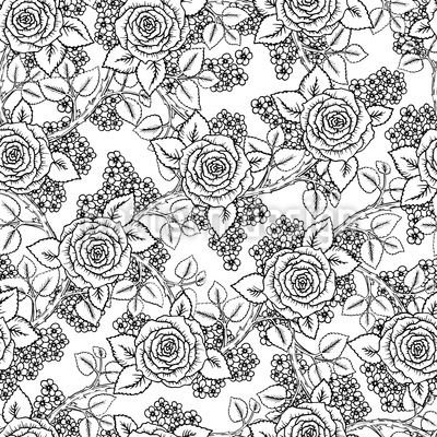Sketched Roses Seamless Vector Pattern Design