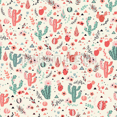 Cactus felices en el desierto Estampado Vectorial Sin Costura