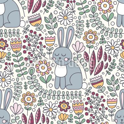 Niedliche Kaninchen Nahtloses Vektor Muster
