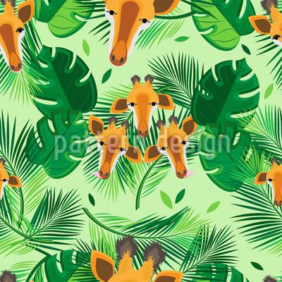 Girafas E Folhas Design de padrão vetorial sem costura