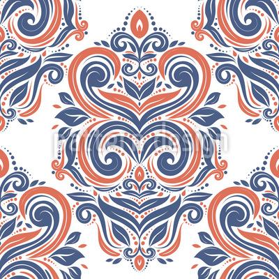 Folclore Vintage Design de padrão vetorial sem costura