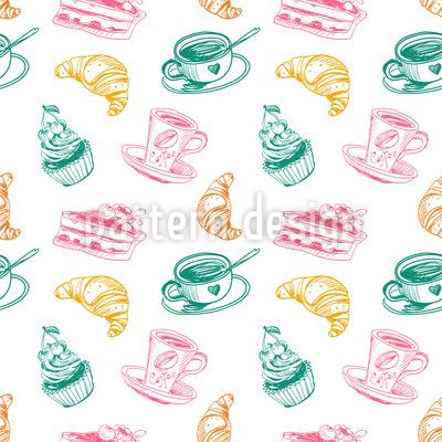 Tasse Kaffee Kuchen und Croissants Musterdesign