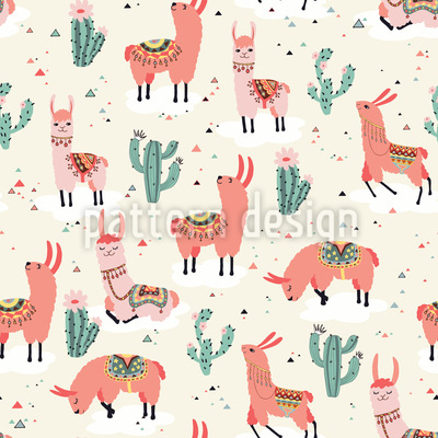 Happy Llamas Seamless Vector Pattern Design