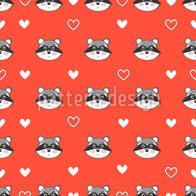Raccoon And Hearts Seamless Vector Pattern Design