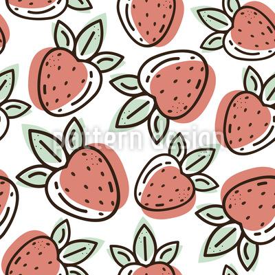 Erdbeer-Doodle Nahtloses Vektor Muster