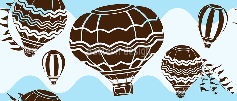 Heißluftballons auf Wellen Nahtloses Vektor Muster
