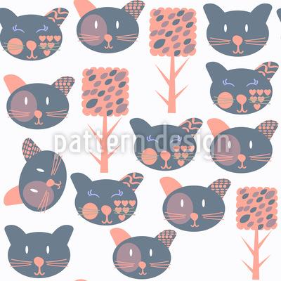 Katzen im Wald Rapportiertes Design