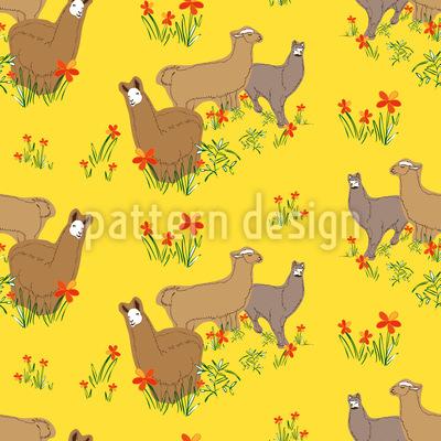Lamas im Sommer Nahtloses Muster
