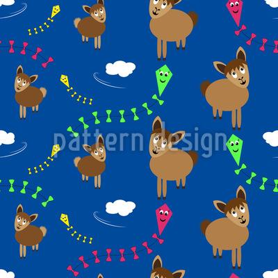 Lamas beim Drachensteigen Nahtloses Muster