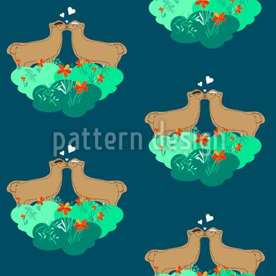 Lamas im Blumenhimmel Vektor Muster