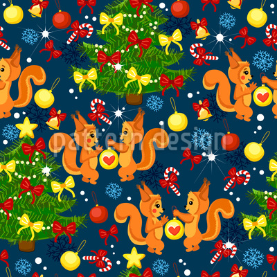 Weihnachts-Eichhörnchen Rapportiertes Design