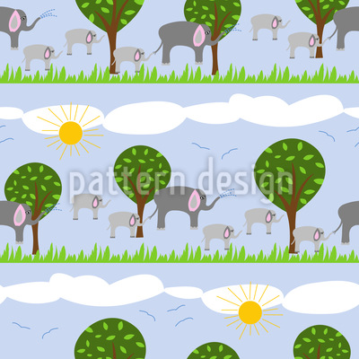 Elephant family Seamless Vector Pattern Design