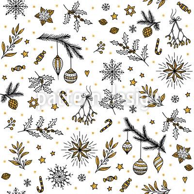ヴィンテージ・クリスマス シームレスなベクトルパターン設計