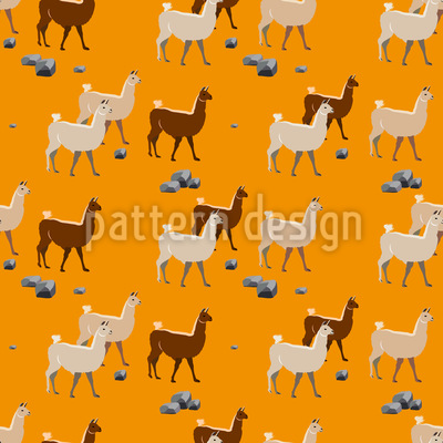 Lamas in Peru Seamless Vector Pattern Design