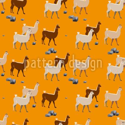 Lamas en Perú Estampado Vectorial Sin Costura