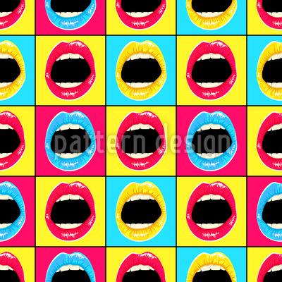 Pop art lips Seamless Vector Pattern Design