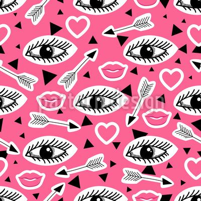 Lippen und Augen Rapportmuster