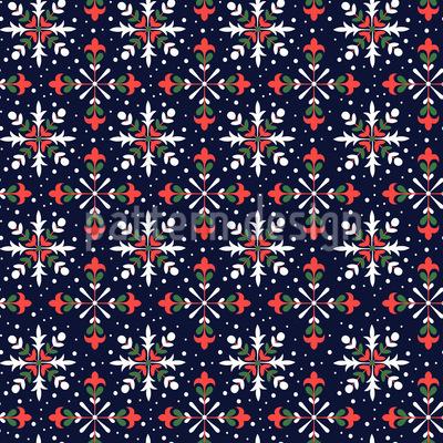 Florale Schneesterne Nahtloses Muster