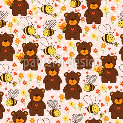 Niedliche Bären und Bienen Vektor Ornament