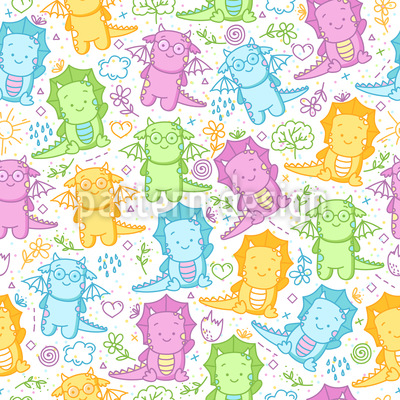 Cute Baby Dinos Seamless Pattern