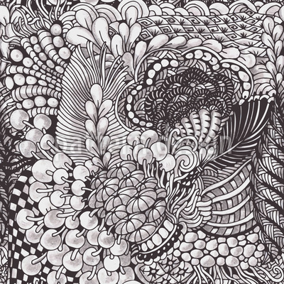 Organic Zentangle Seamless Vector Pattern Design