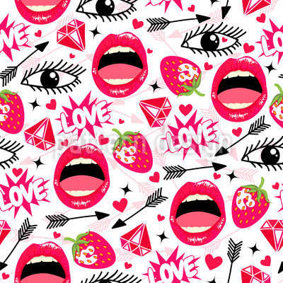 Entzückende Lippen Vektor Ornament