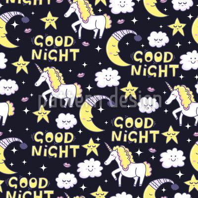 Gute Nacht Einhorn Nahtloses Vektormuster