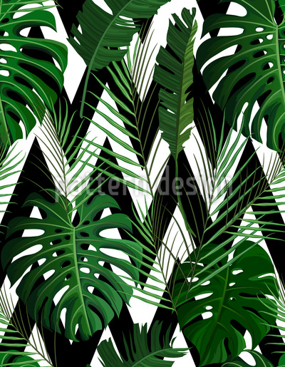 Monstera Leaves Carnes Zigzag Estampado Vectorial Sin Costura