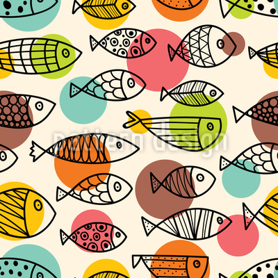 Cute Fish World Seamless Vector Pattern Design