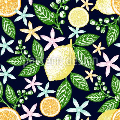 Vintage Zitronen Musterdesign