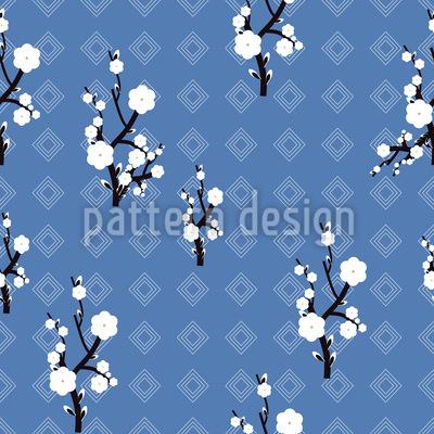 Hanami Blau Nahtloses Vektor Muster
