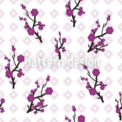Hanami White Seamless Vector Pattern Design