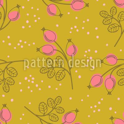 Stylische Hagebuttenzweige Muster Design