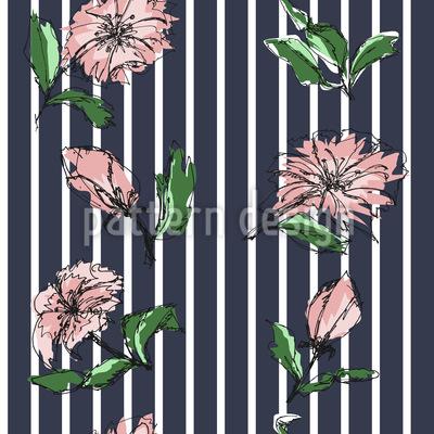 Blüten Auf Nadelstreifen Vektor Ornament